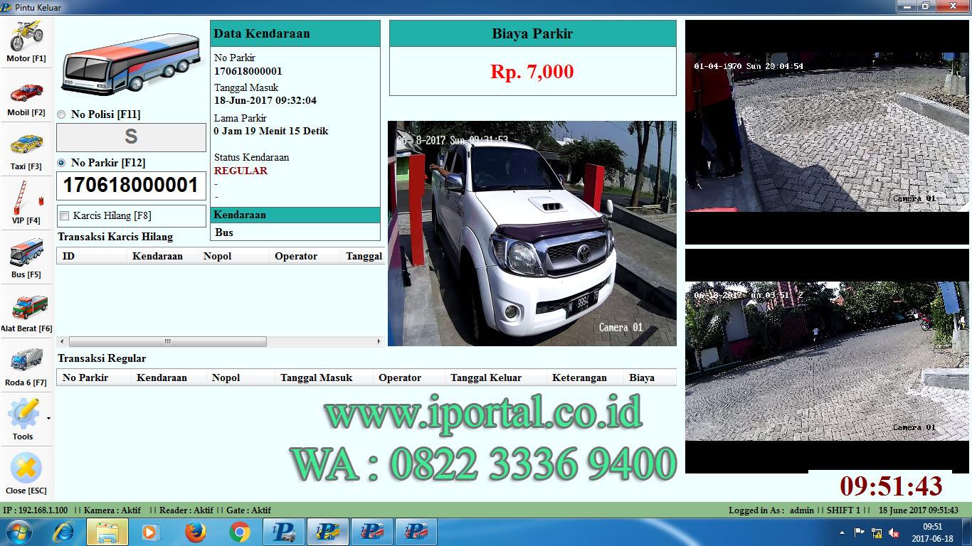palang parkir otomatis software parkir